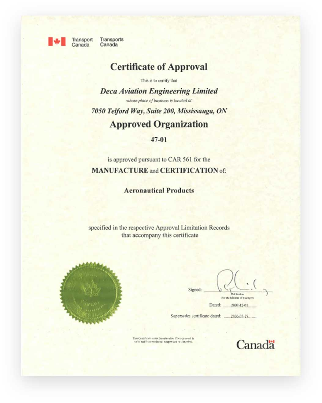 Certification of Aeronautical_Product